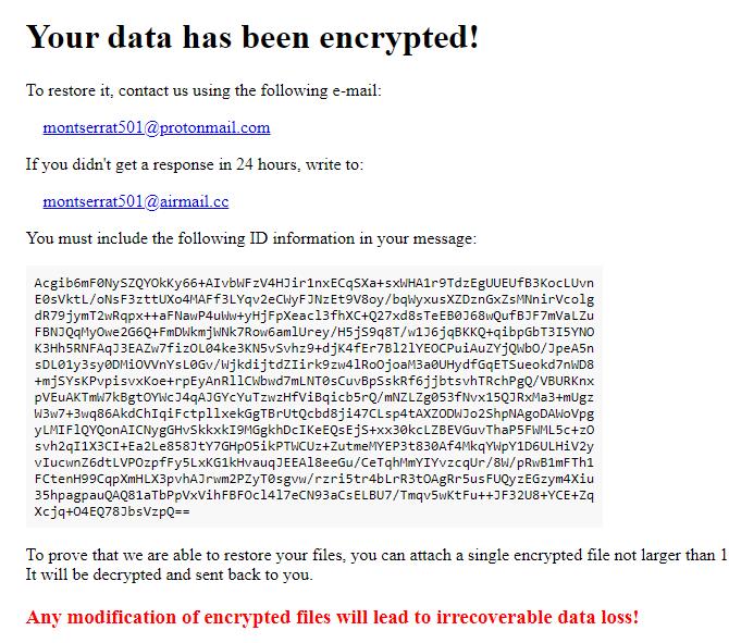 Montserrat file ransomware