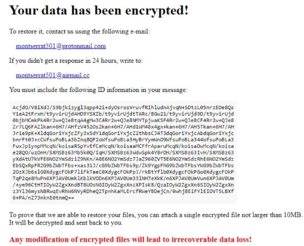 Montserrat ransomware