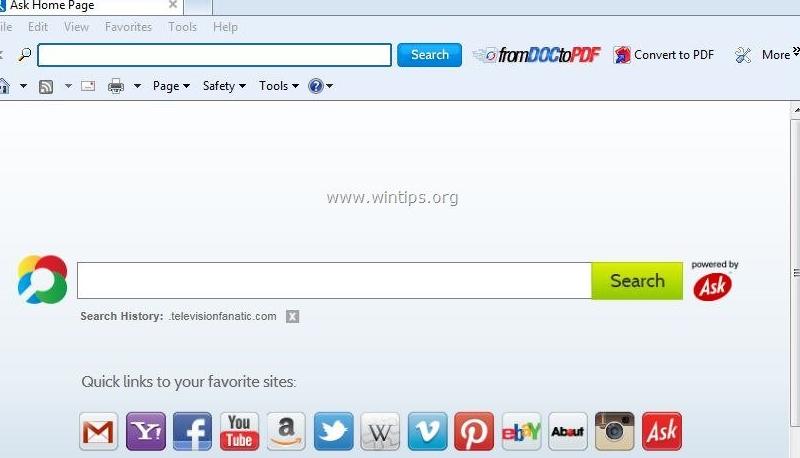 วิธีการลบ From Doc to PDF Toolbar
