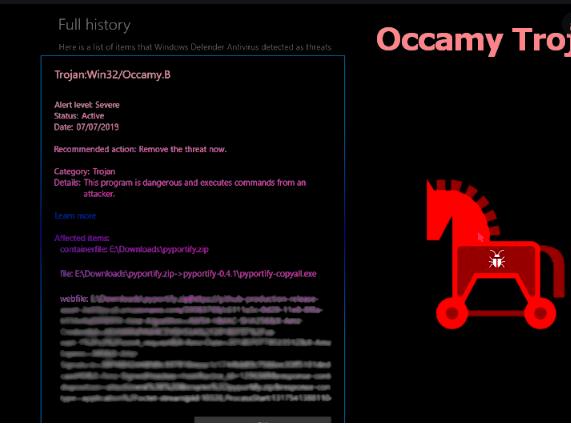 Rimuovere Occamy.C Trojan