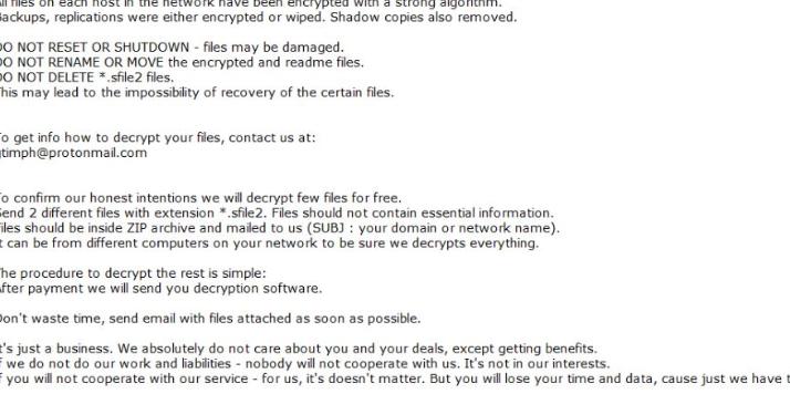 Eltávolít Sfile2 ransomware