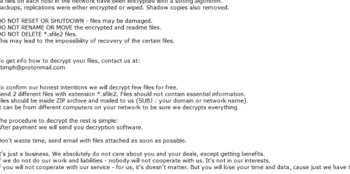 Удалить Sfile2 ransomware