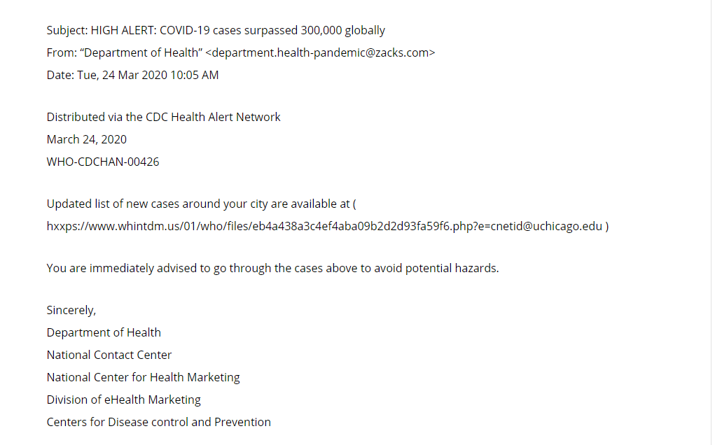 COVID-19 Cases Surpassed 300,000 Email Scam