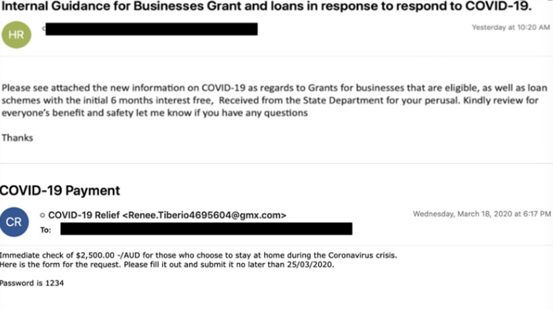 """ COVID-19 Relief "" e-mail Scam"