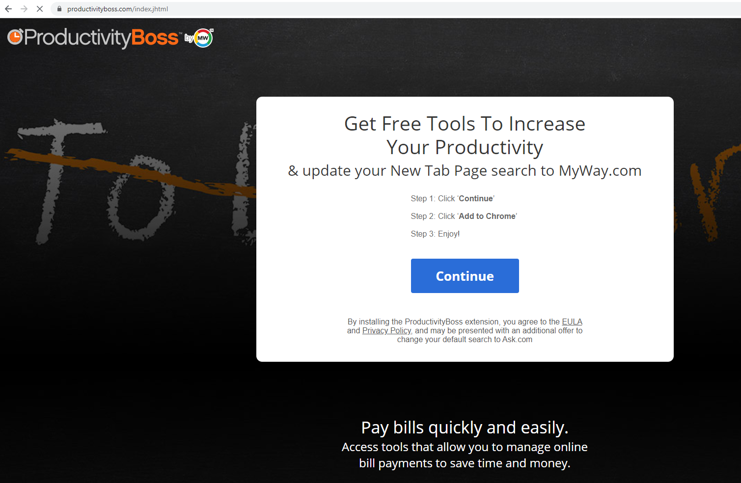 Ta bort ProductivityBoss Toolbar