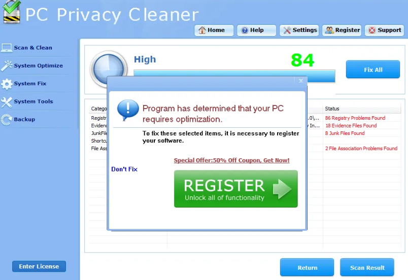 Fjerne Smart PC Privacy Cleaner Pro