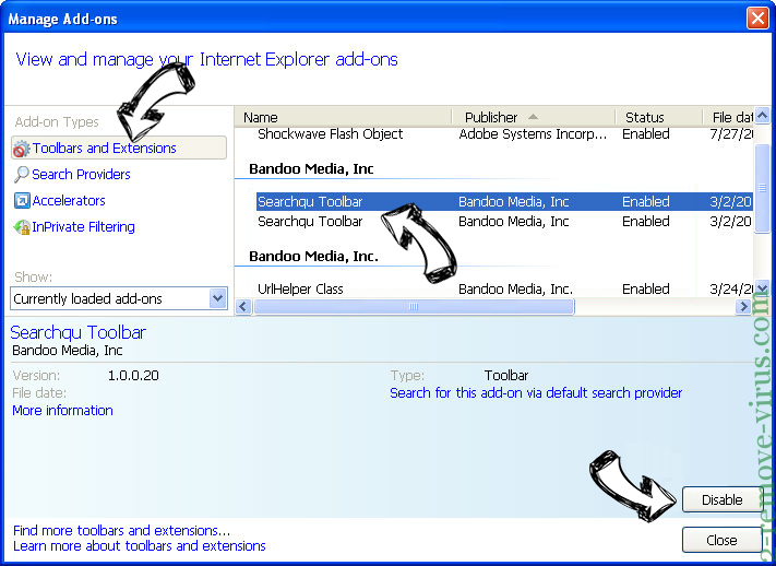 Search.hwatch-tvonline.com IE toolbars and extensions