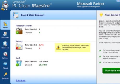PC Clean Maestro virus Usuwania