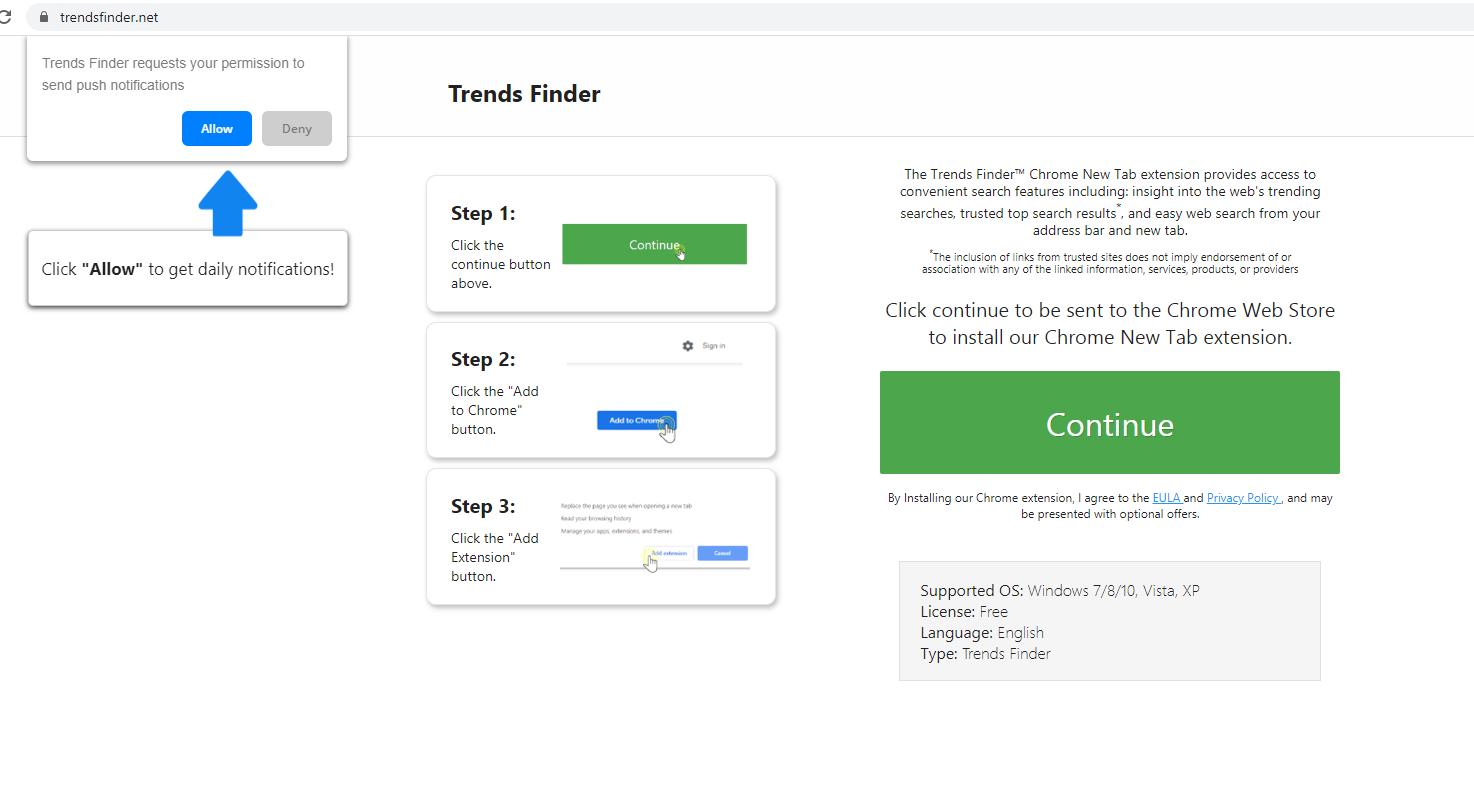 Verwijderen TrendsFinder.net