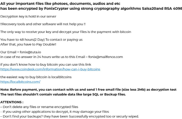 Fjerne Fonix ransomware