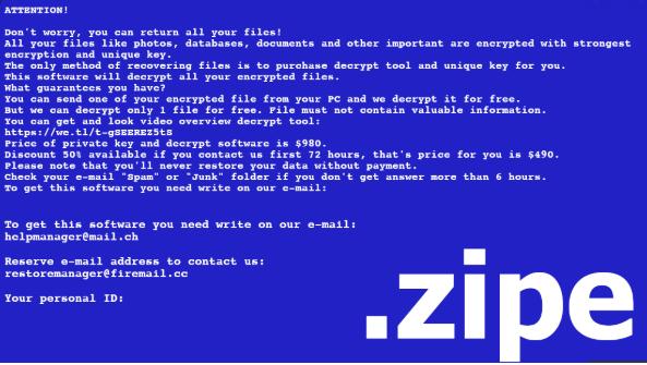 Menghapus Zipe Ransomware