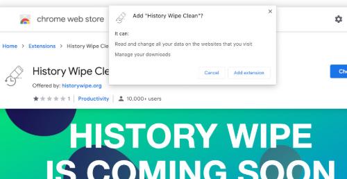 History Wipe Clean Usuwania