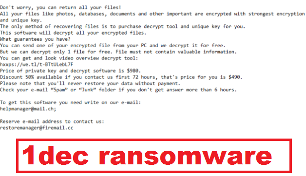 Remove 1dec ransomware and Unlock Files
