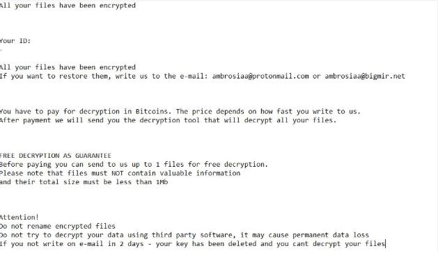 Ambrosia ransomware eltávolítás – . Ambrosia kiterjesztés Vírus eltávolítása