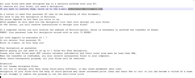 Nefartanulo ransomware