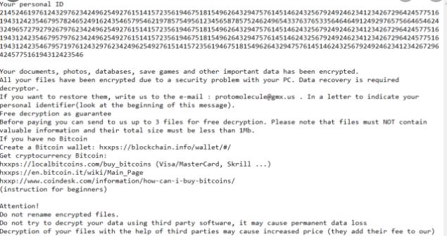 Καταργήσετε Protomolecule ransomware