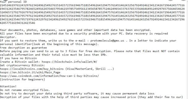 Удалить Protomolecule ransomware