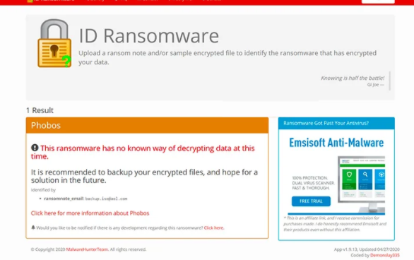 Rimuovere Bl9c98vcvv ransomware
