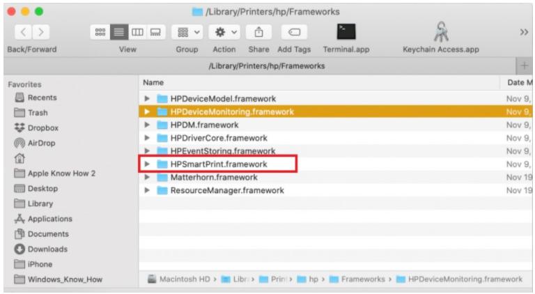 HPDM.framework Odstranění