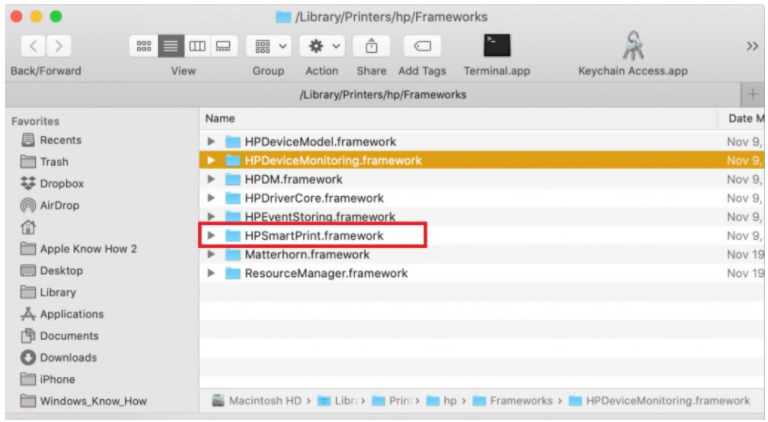 HPDM.framework Удаления