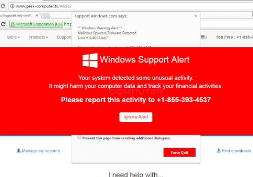 """MS-Windows Support Alert"" scam Enlèvement"