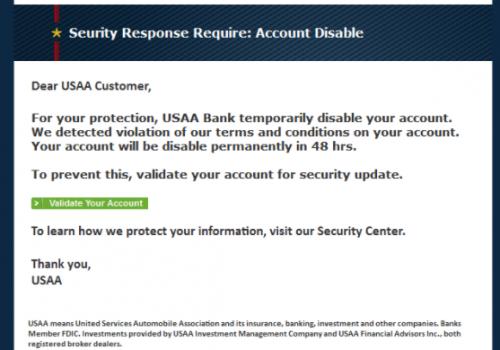 USAA e-mail de phishing