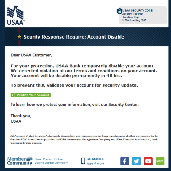 USAA phishing e-mail