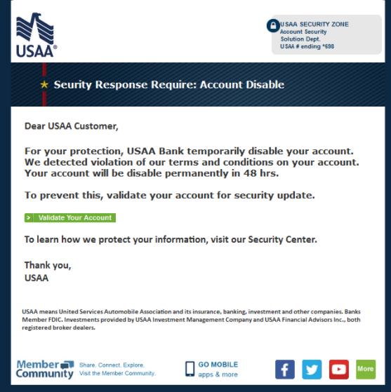 USAA phishing email