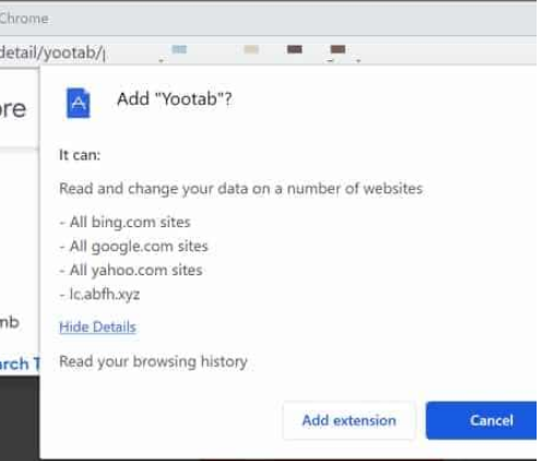 Yootab browser hijacker Enlèvement