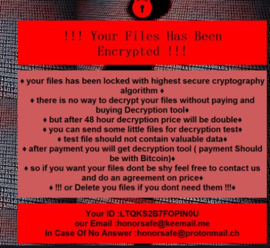 Honor ransomware