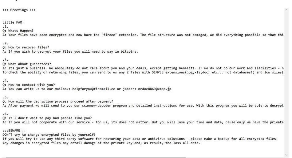 Fireee file ransomware