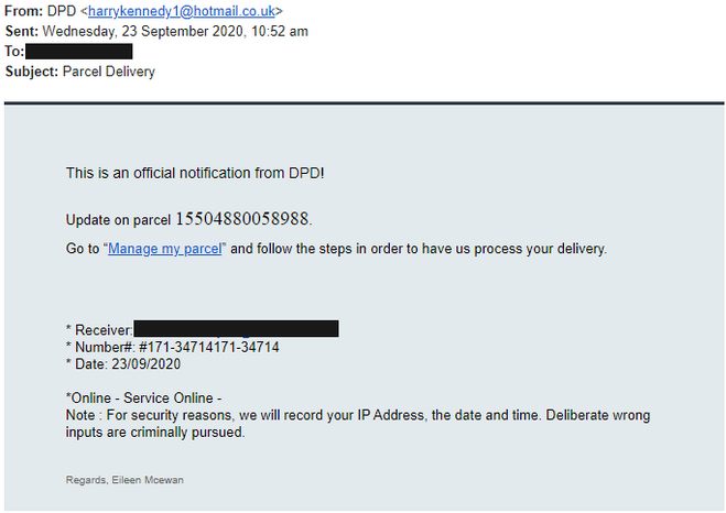 DPD Delivery Email Virus – How to recognise