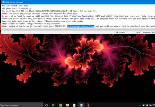 Retirer Blackheel ransomware