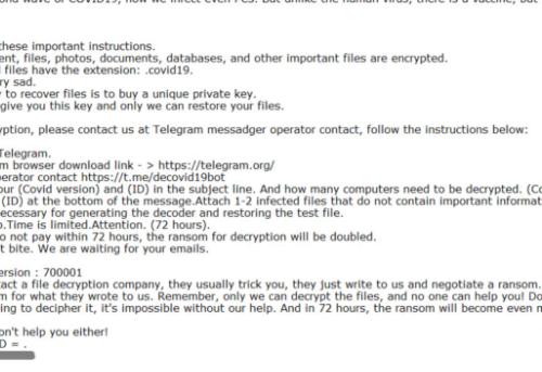 Odstrániť DEcovid19bot ransomware
