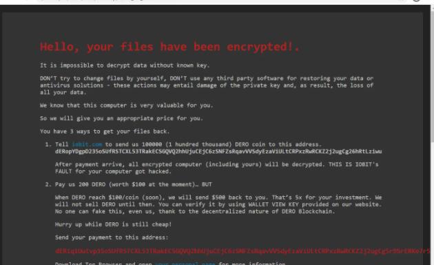 Retirer DeroHE ransomware