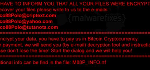 Rimuovere M88P ransomware
