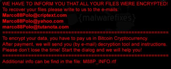 Eltávolít M88P ransomware