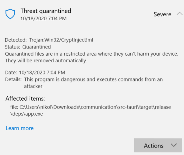 Retire Trojan:Win32 / CryptInject!ml