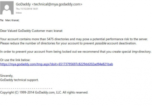 """GoDaddy"" Phishing-E-Mails"