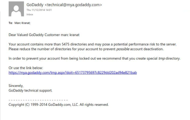 GoDaddy phishing emails