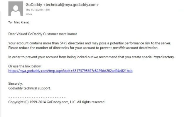 GoDaddy phishing emails