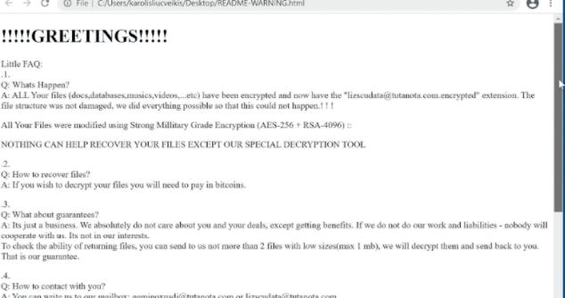 Lizscudata ransomware