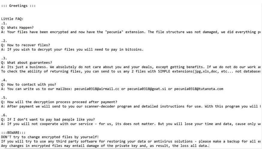 Pecunia ransomware