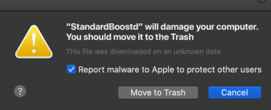 Удалить * Will Damage Your Computer. You Should Move It To The Trash. POP-UP (Mac)
