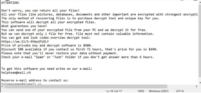 Fjerne Wrui Ransomware