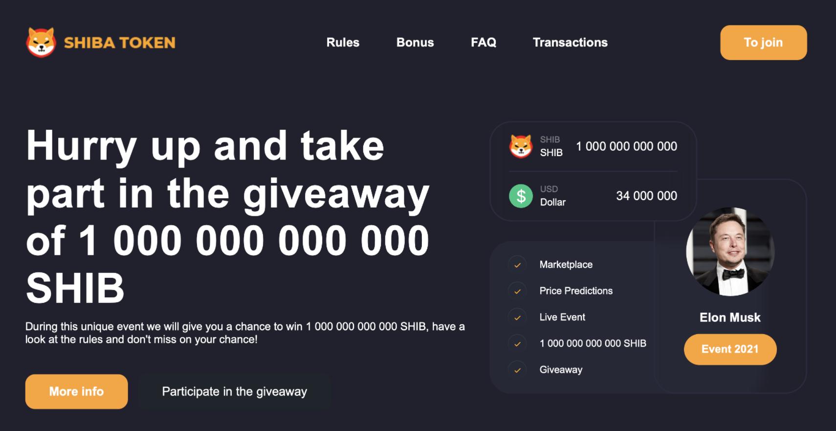 Usunąć SHIBA (SHIB) Giveaway Scam