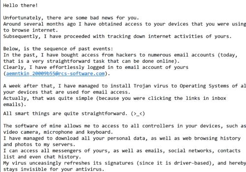 Dessverre er det noen dårlige nyheter for deg Email Scam